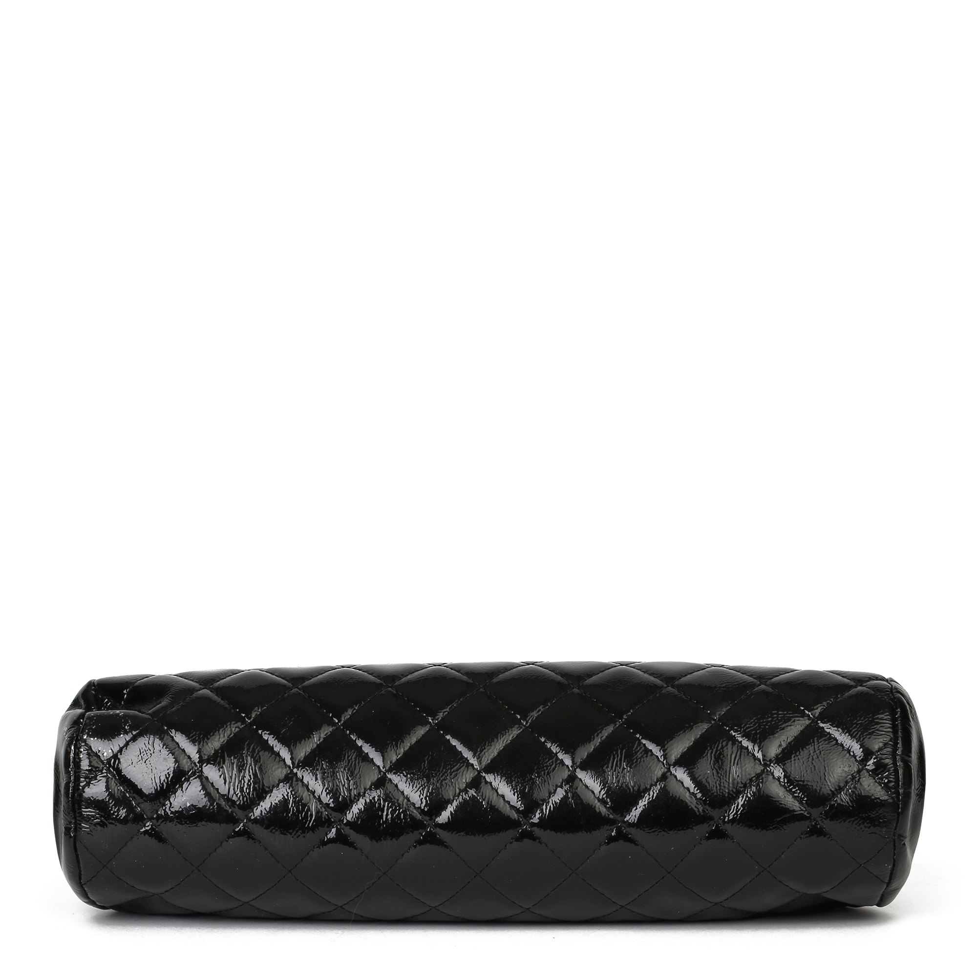 Chanel Black Quilted Aged Patent Leather Timeless Clutch