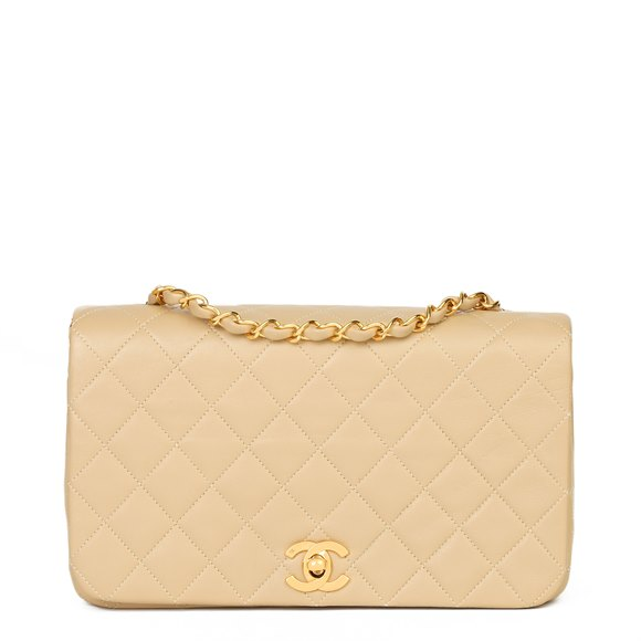 Chanel Beige Quilted Lambskin Vintage Small Classic Single Full Flap Bag
