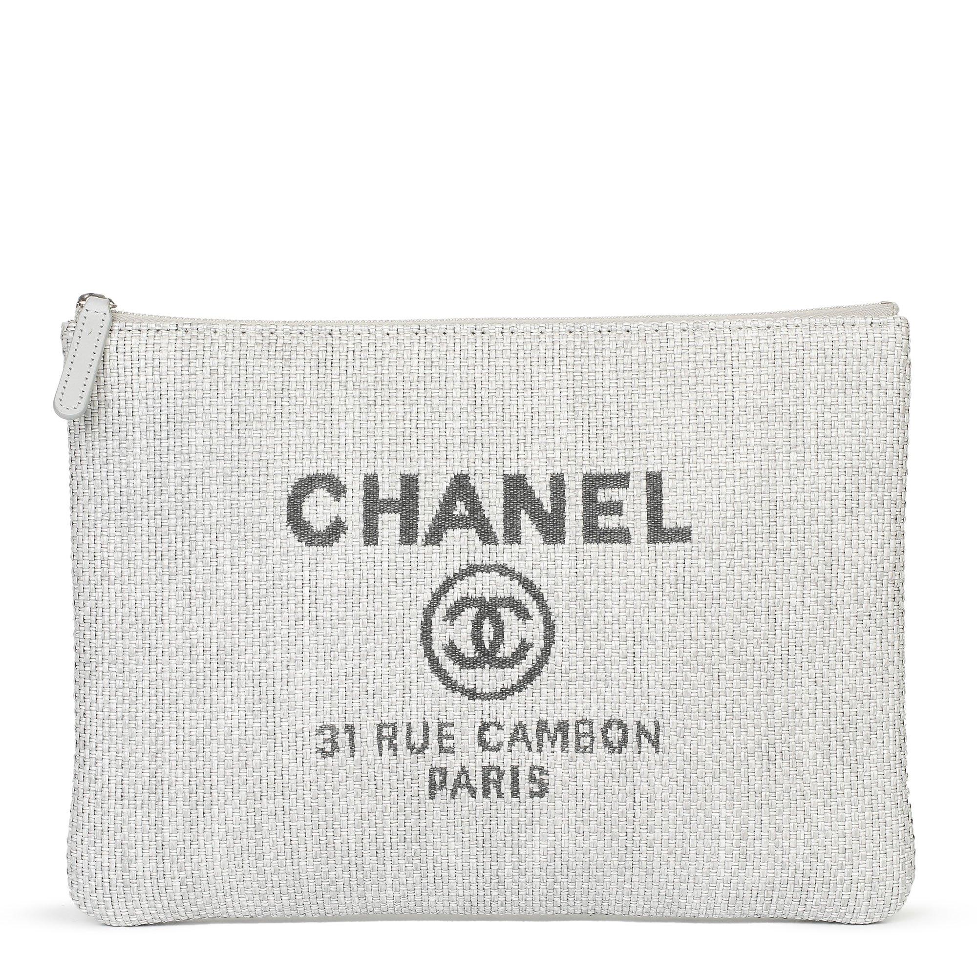 Chanel Grey Raffia Medium Deauville Pouch