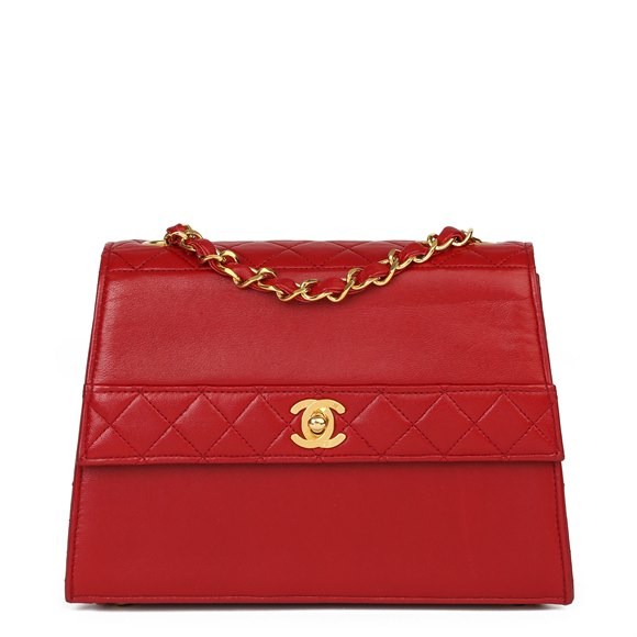 Chanel Red Quilted Lambskin Vintage Small Trapeze Classic Single Flap Bag