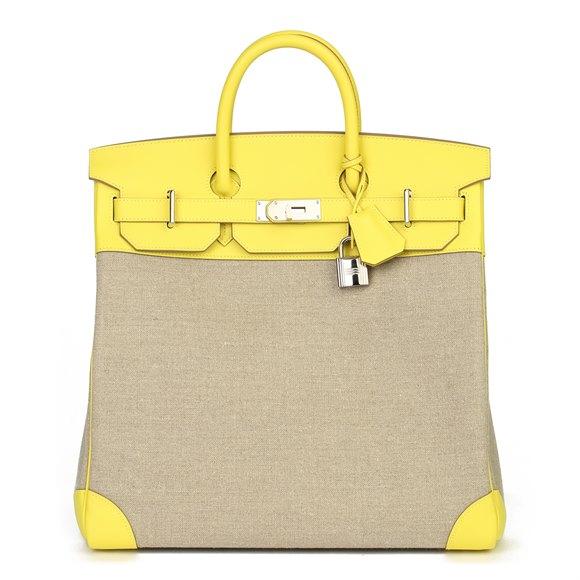 Hermès Lime Evercolour Leather & Ficelle Toile Birkin 40cm HAC Retourne