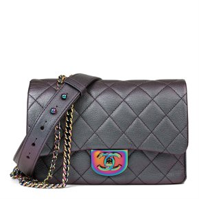 Chanel Iridescent Quilted Calfskin Leather Small Double Carry Flap Bag