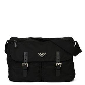 Prada Black Nylon & Calfskin Leather Medium Shoulder Bag