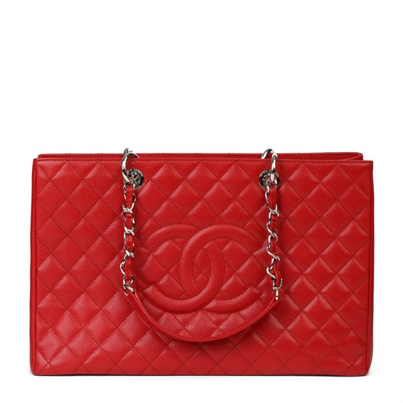 Chanel Red Quilted Caviar Leather Grand Shopping Tote XL