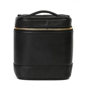 Chanel Black Quilted Lambskin Vintage Vanity Bag