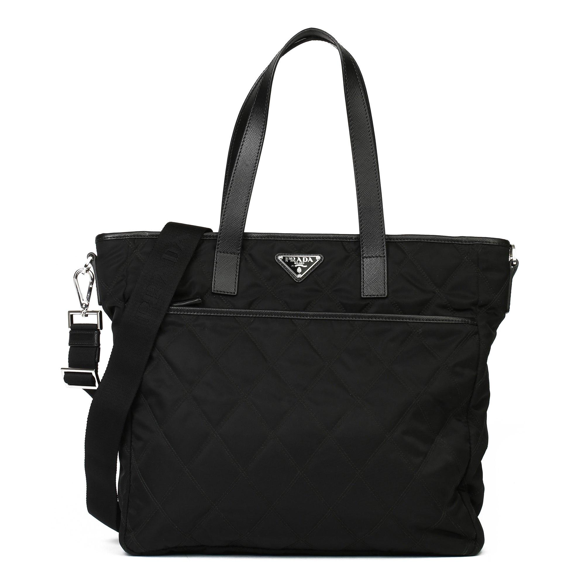 Prada Black Quilted Nylon & Saffiano Leather Shoulder Tote