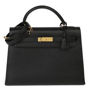 Hermès Black Ardennes Leather Vintage Kelly 35cm Sellier
