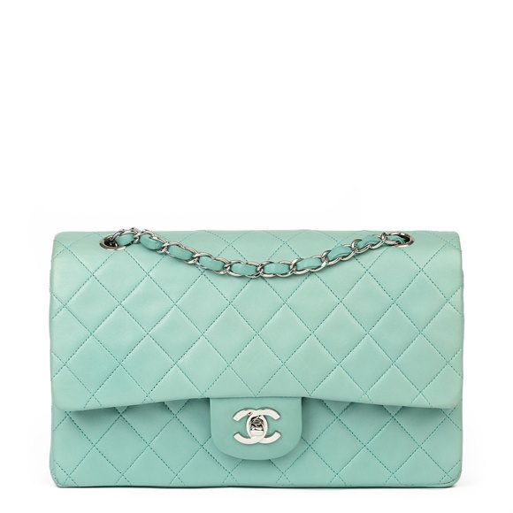 Chanel Light Blue Quilted Lambskin Medium Classic Double Flap Bag