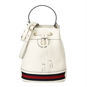 Gucci White Pigskin Leather Web Orphidia Bucket Bag