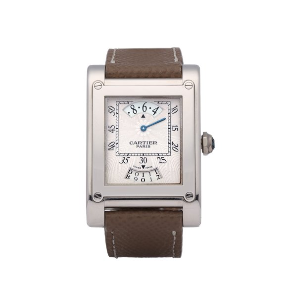 Cartier Tank A Vis CPCP 'Wandering Hour' 18K White Gold - 2554