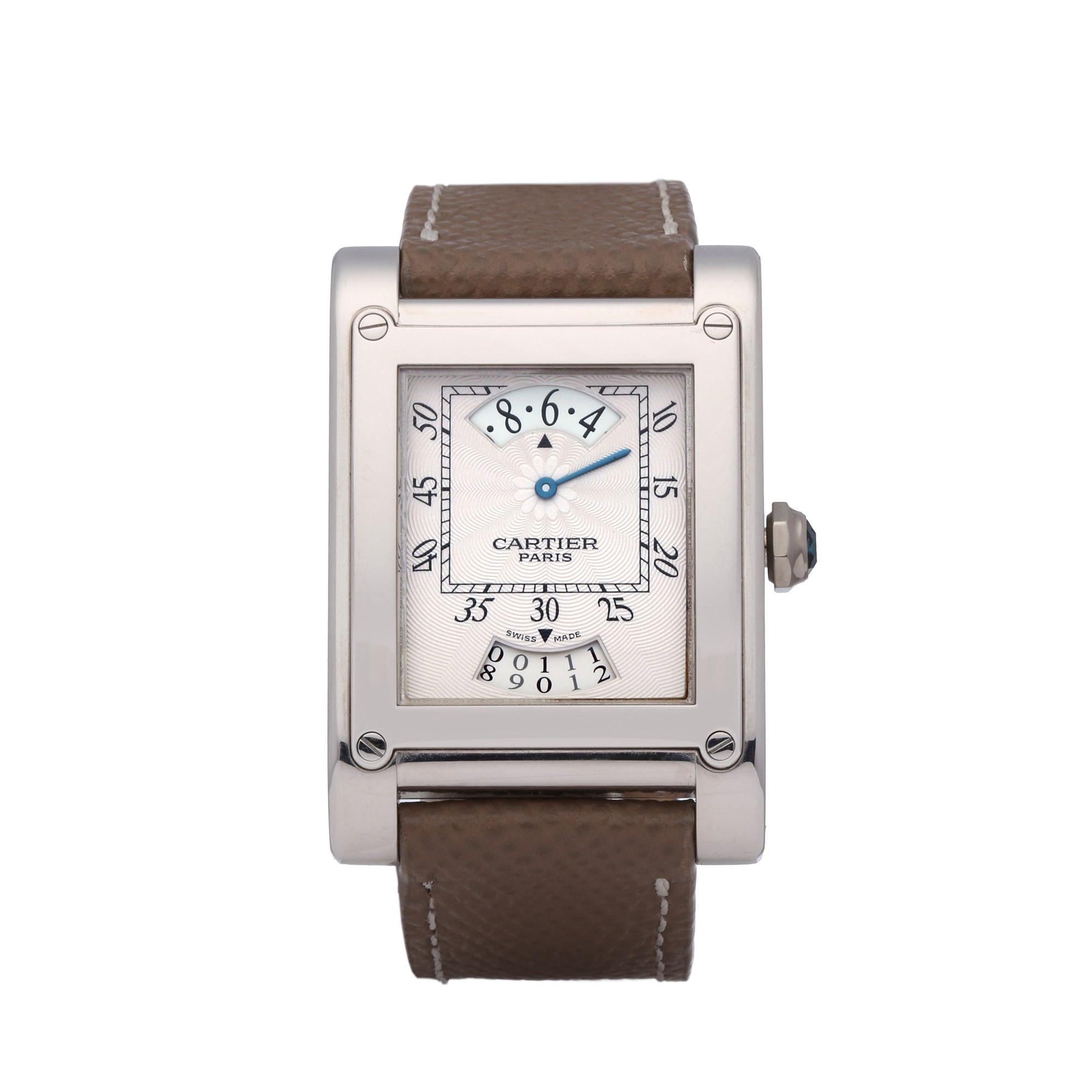 Cartier Tank A Vis CPCP 'Wandering Hour' 18K Wit Goud 2554