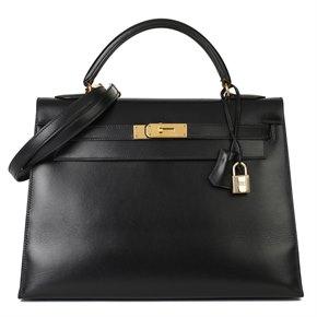 Hermès Black Box Calf Leather Vintage Kelly 32cm Sellier