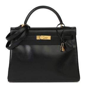 Hermès Black Box Calf Leather Vintage Kelly 32cm Retourne