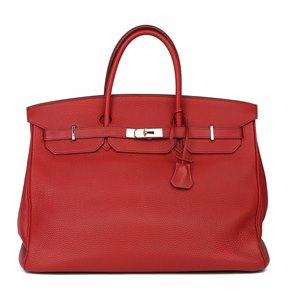 Hermès Rouge Garance Clemence Leather Birkin 40cm
