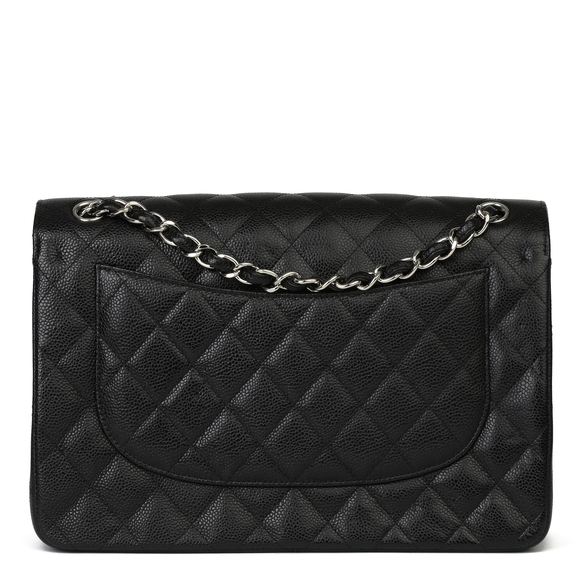 Chanel Black Quilted Caviar Leather Vintage Jumbo Classic Double Flap Bag