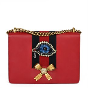 Gucci Red Calfskin Leather Eye Embellished Webb Medium Peony