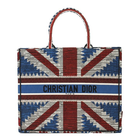 Christian Dior Red, White & Blue Canvas Union Jack Book Tote