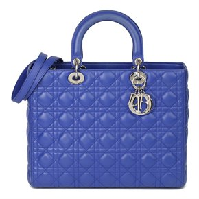Christian Dior Purple Quilted Lambskin Leather Lady Dior GM