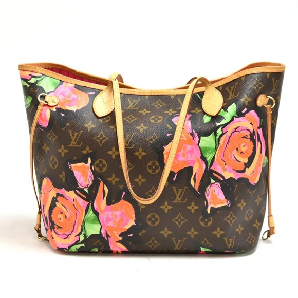 Louis Vuitton Stephen Sprouse Roses Brown Monogram Coated Canvas & Vachetta Leather Neverfull MM