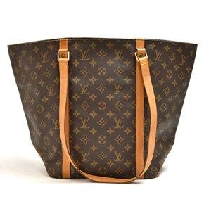 Louis Vuitton Brown Monogram Coated Canvas & Vachetta Leather Vintage Sac Shopping Tote
