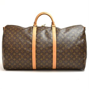 Louis Vuitton Brown Monogram Coated Canvas & Vachetta Leather Keepall 60 Bandouliere