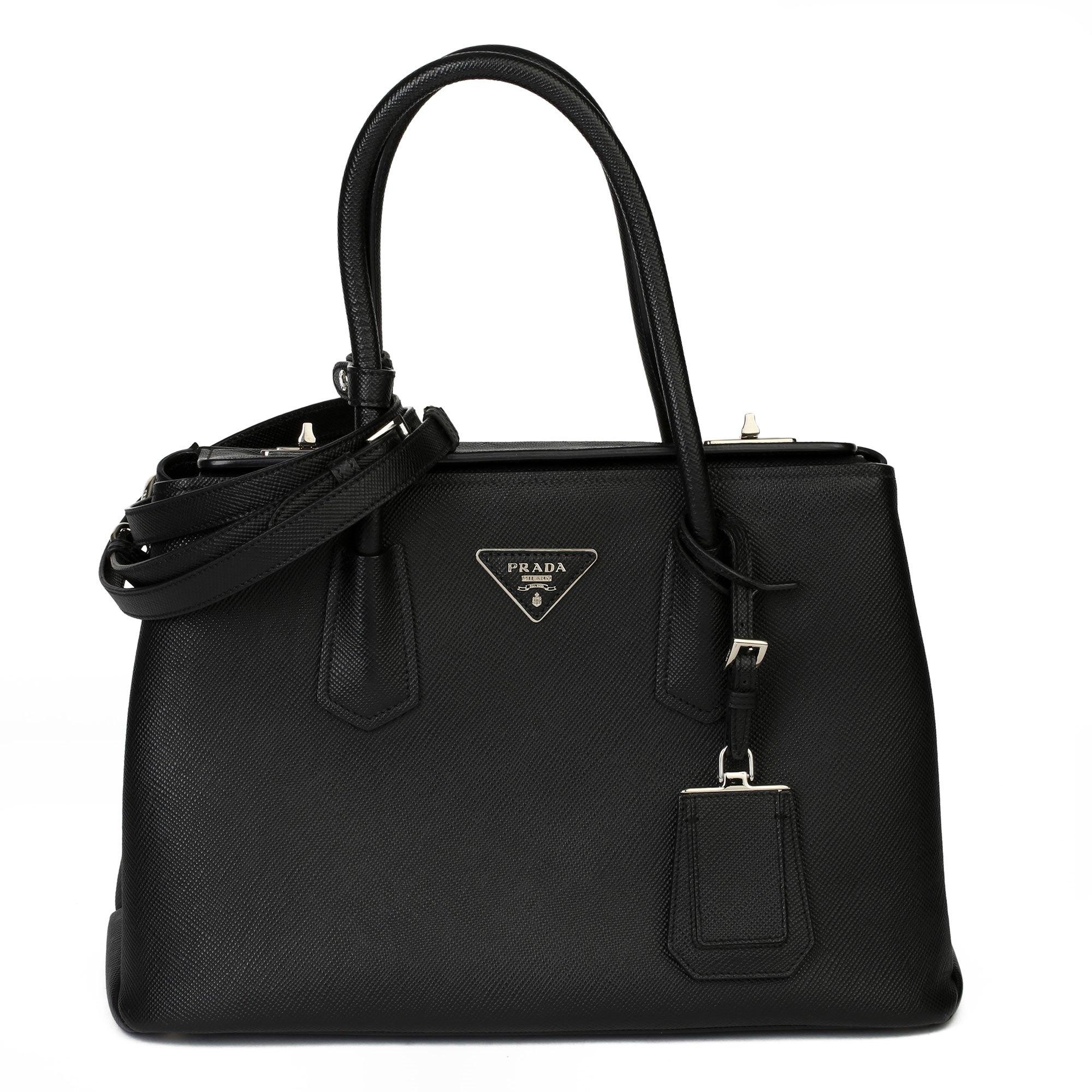 Prada Black Calfskin Leather Saffiano Tote