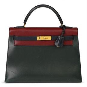 Hermès Vert Fonce, Rouge H & Indigo Box Calf Tri-Colour Leather Vintage Kelly 32cm Sellier