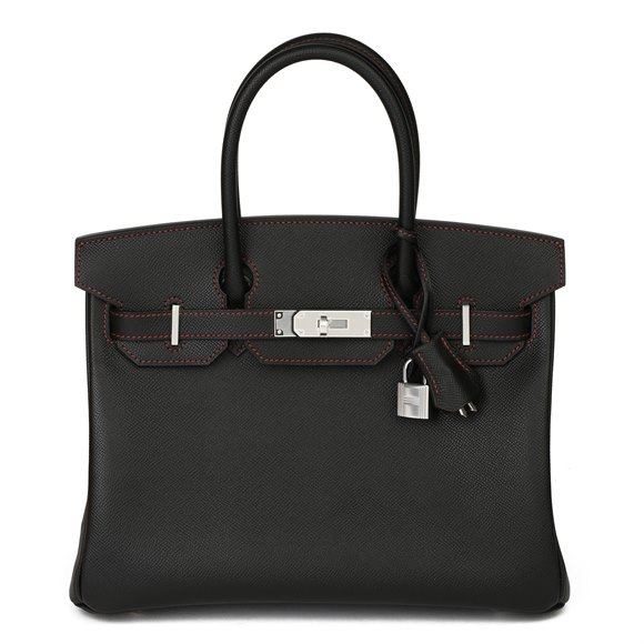 Hermès Black Epsom Leather & Rouge H Contrast Stitch Special Order HSS Birkin Retourne