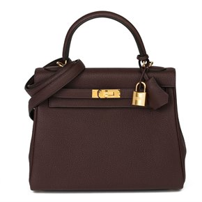 Hermès Rouge Sellier Togo Leather Kelly 25cm Retourne