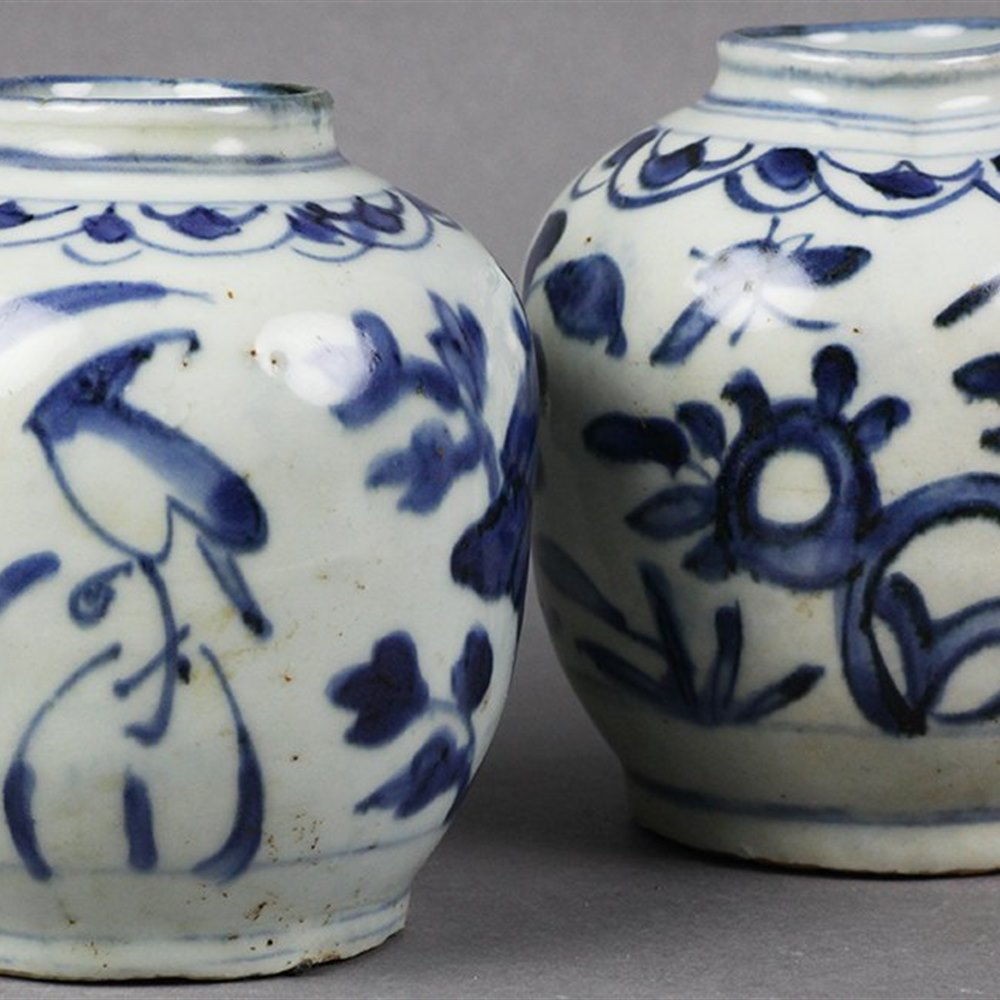 PAIR MING DYNASTY BIRD JARS Dates from the Ming Dynasty 15/16th Century