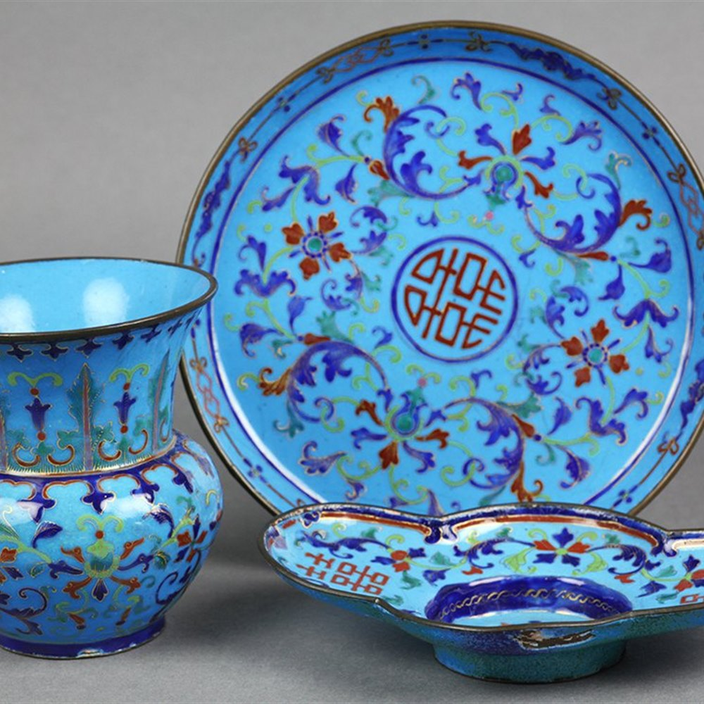 CHINESE CLOISONNE DESK SET 19th Century
