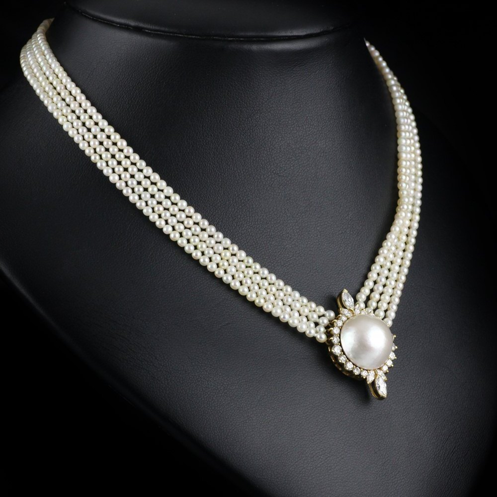 itm cultured chain diamond gold freshwater pendant contemporary yellow with aa pearl rg necklace