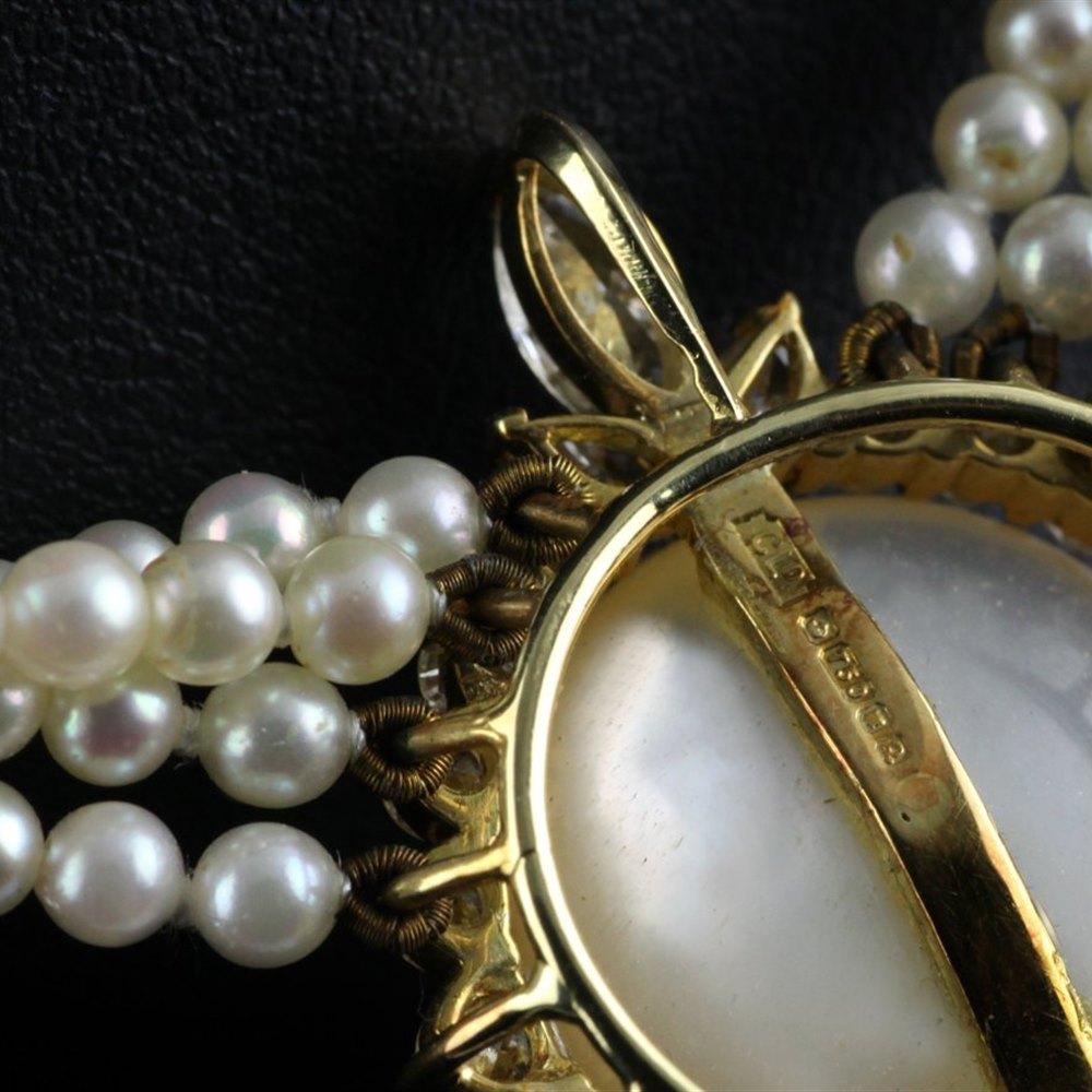 Kutchinsky 18k Yellow Gold Pearl & Diamond Necklace