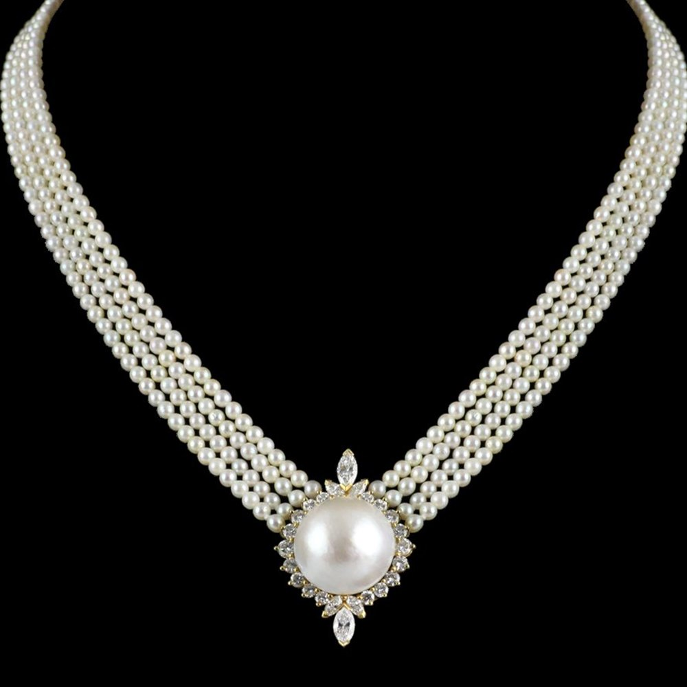 Kutchinsky 18k Yellow Gold Pearl & Diamond Necklace