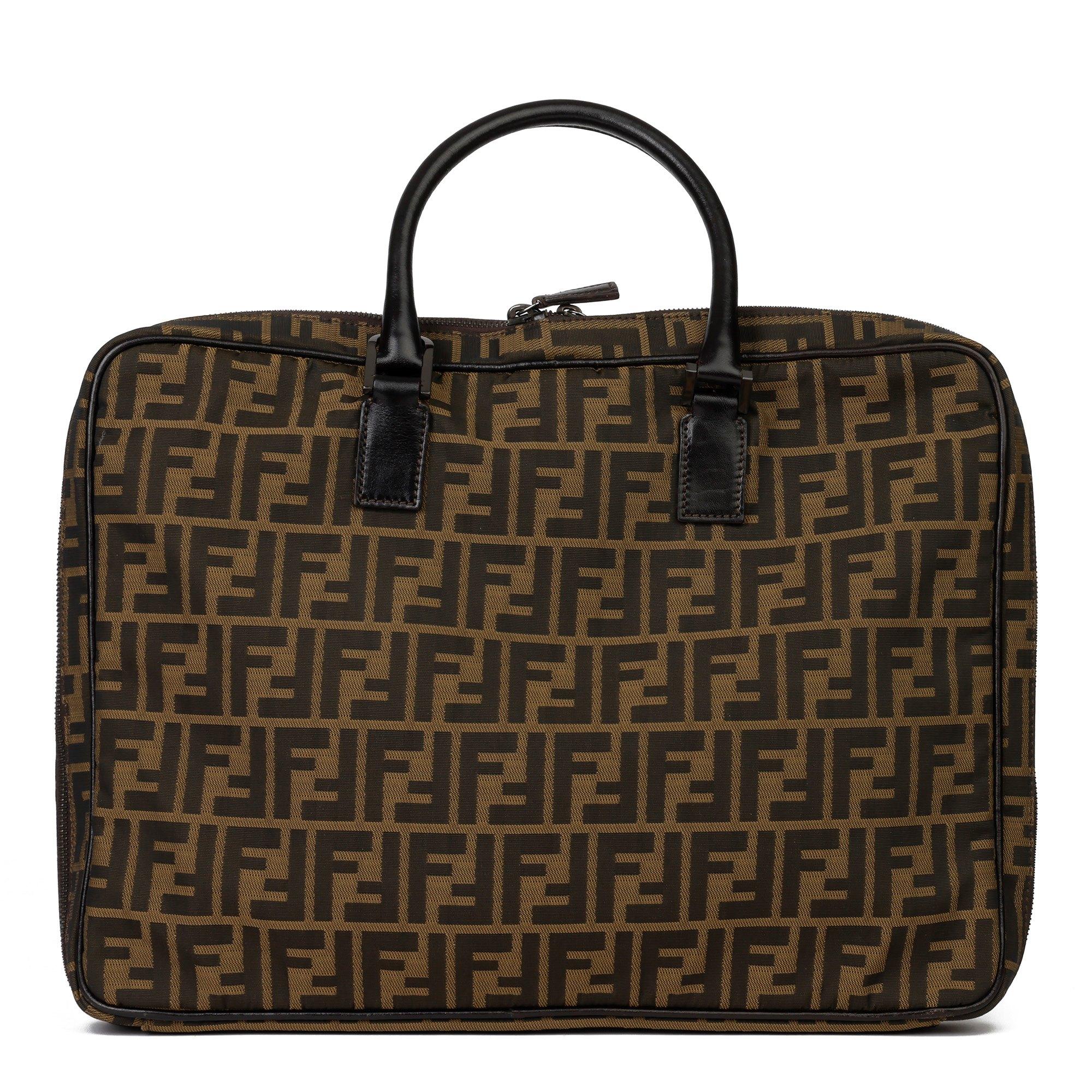 Fendi Brown Zucca Canvas and Calfskin Leather Briefcase