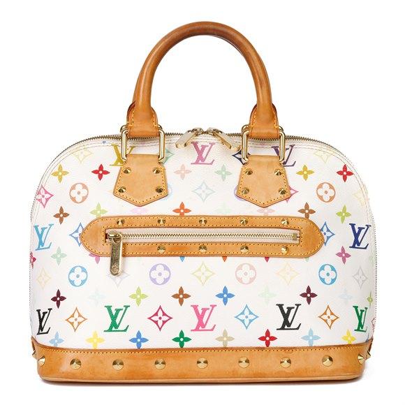Louis Vuitton White Multicolore Monogram Coated Canvas & Vachetta Leather Murakami Alma PM