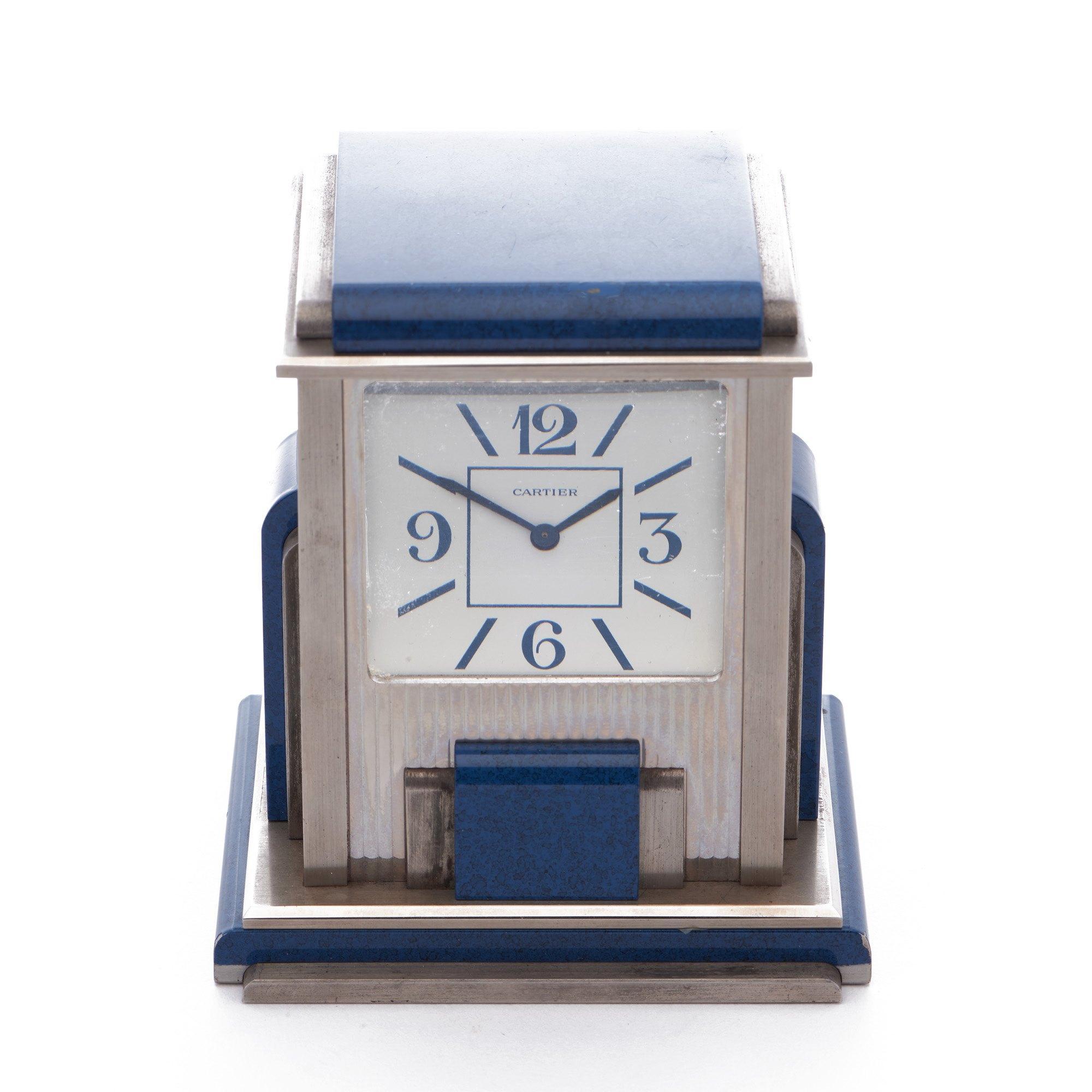 Cartier Travel Desk Clock Cartier Paris 'Mystery' Silver Plated Double Desk Clock