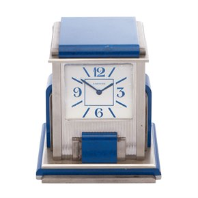 Cartier Travel Desk Clock Cartier Paris 'Mystery' Silver Plated Desk Clock