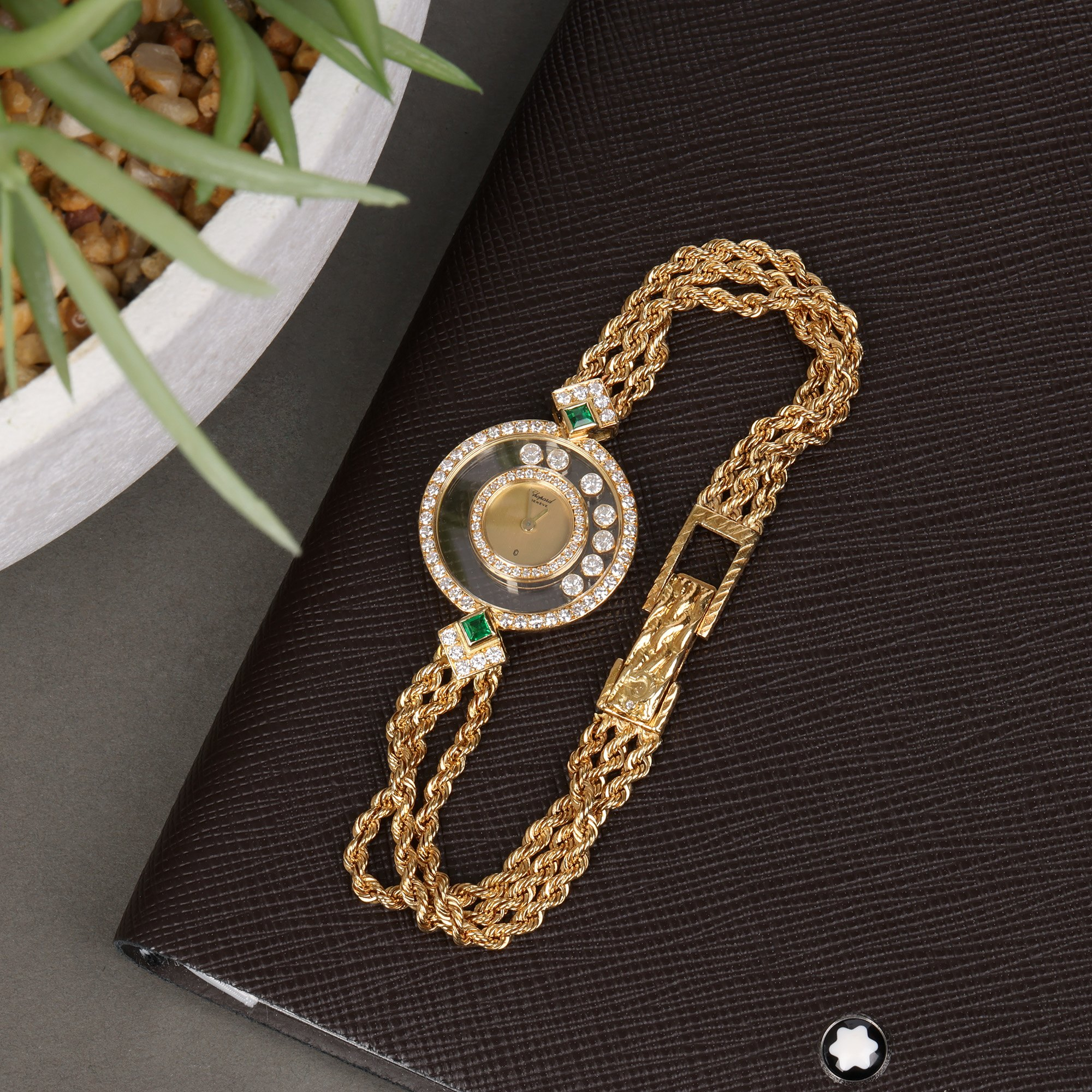 Chopard Happy Diamonds Diamond & Emerald Bezel 18K Geel Goud 4066