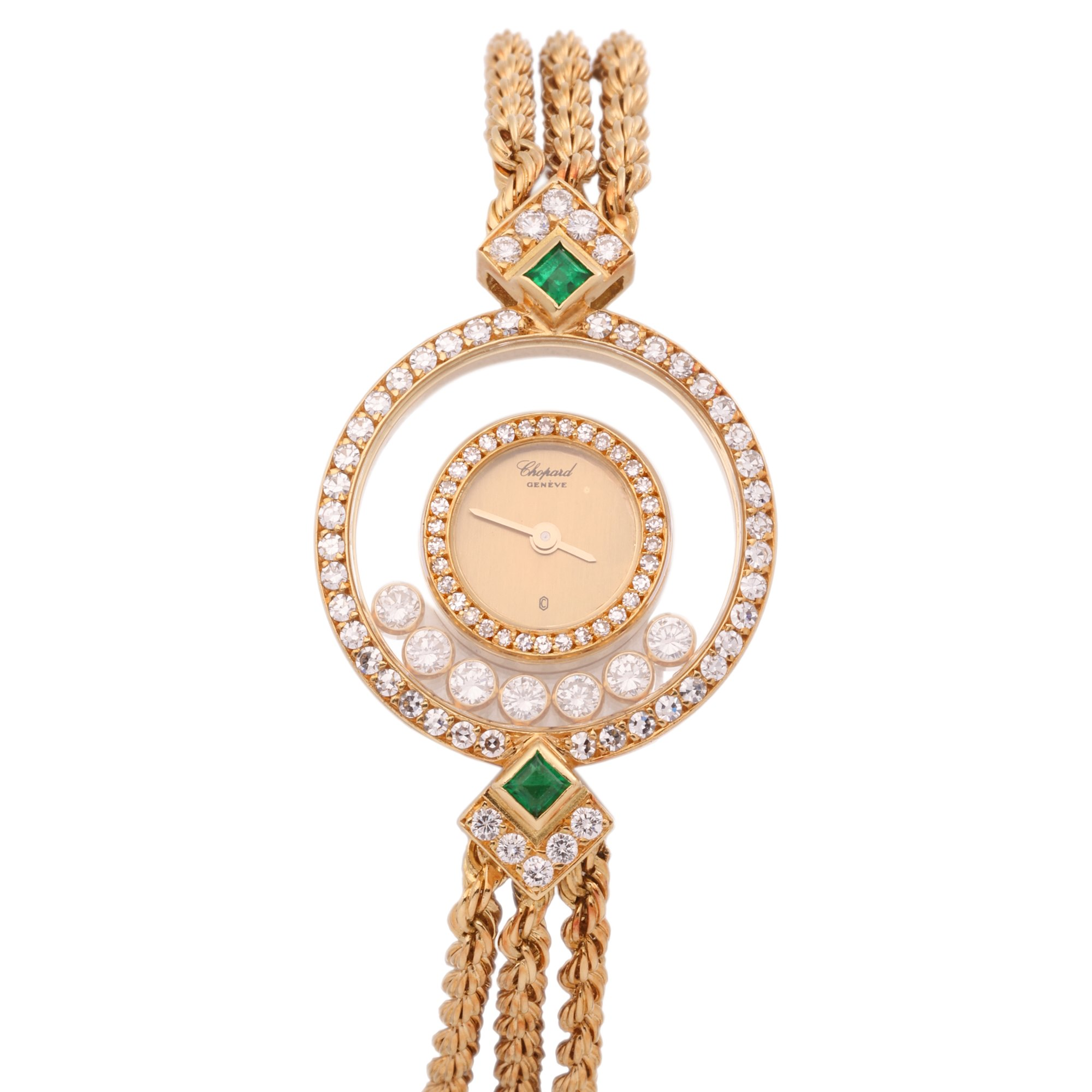 Chopard Happy Diamonds Diamond & Emerald Bezel 18K Yellow Gold 4066