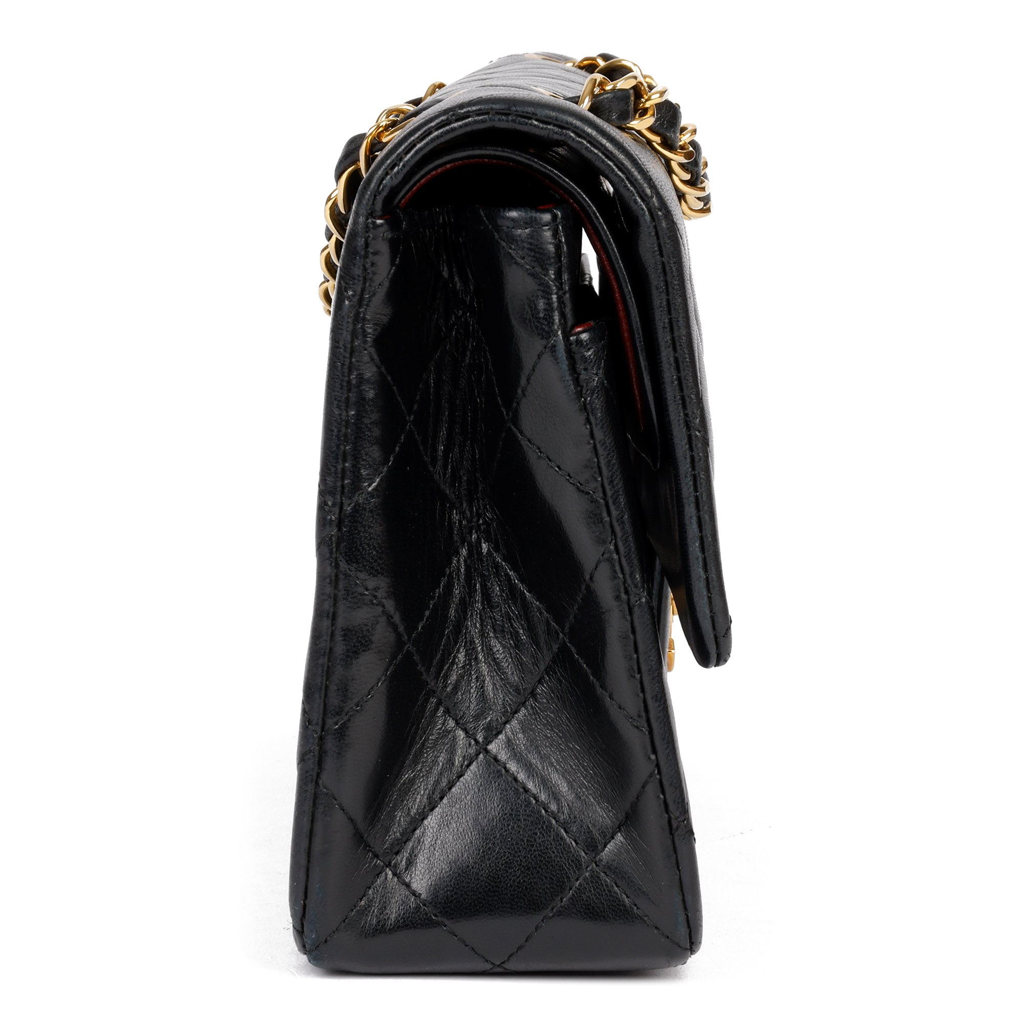 Chanel Black Quilted Lambskin Leather Vintage Small Classic Double Flap Bag