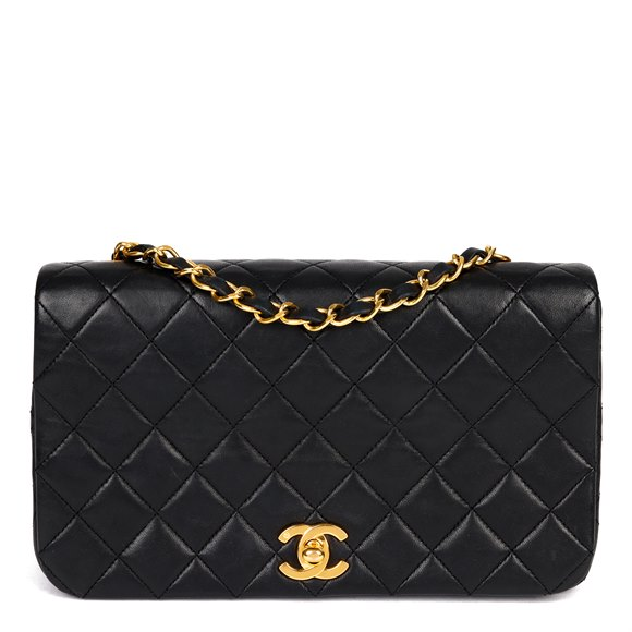Chanel Black Quilted Lambskin Leather Vintage Classic Single Full Flap Bag