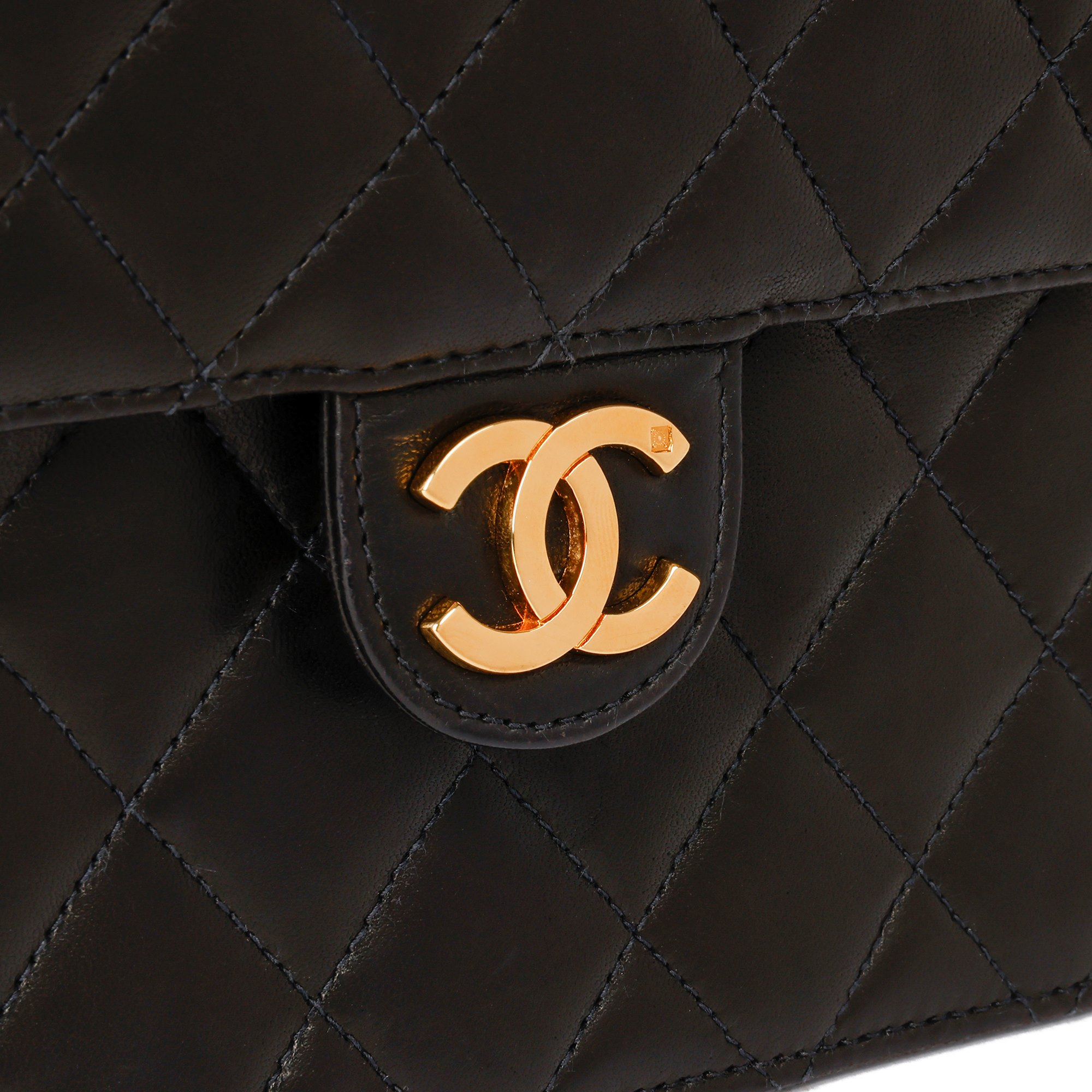 Chanel Black Quilted Lambskin Leather Vintage Small Classic Single Flap Bag
