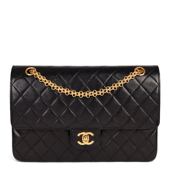 Chanel Black Quilted Lambskin Leather Vintage Classic Double Flap Bag