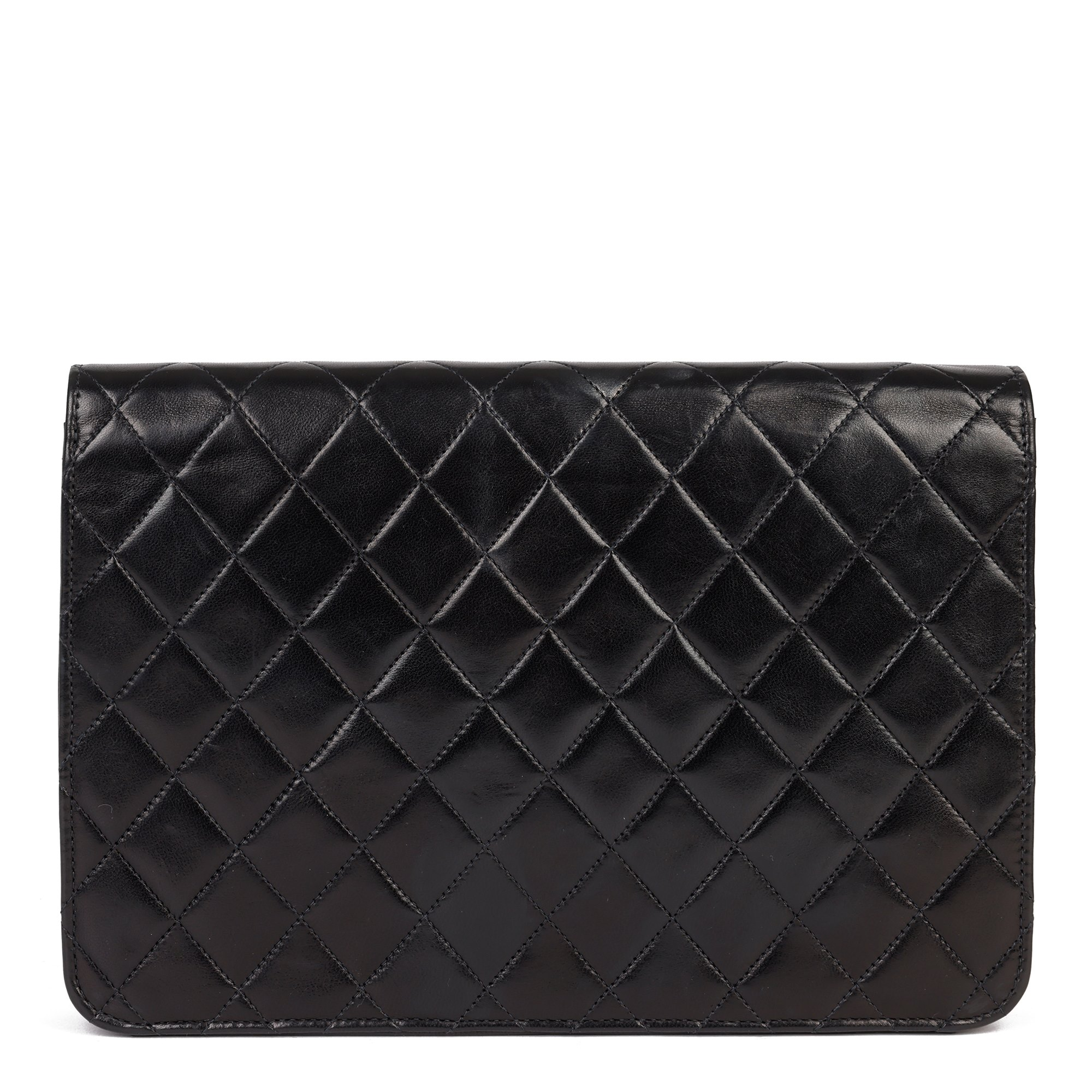 Chanel Black Quilted Lambskin Leather Vintage Medium Classic Single Flap Bag