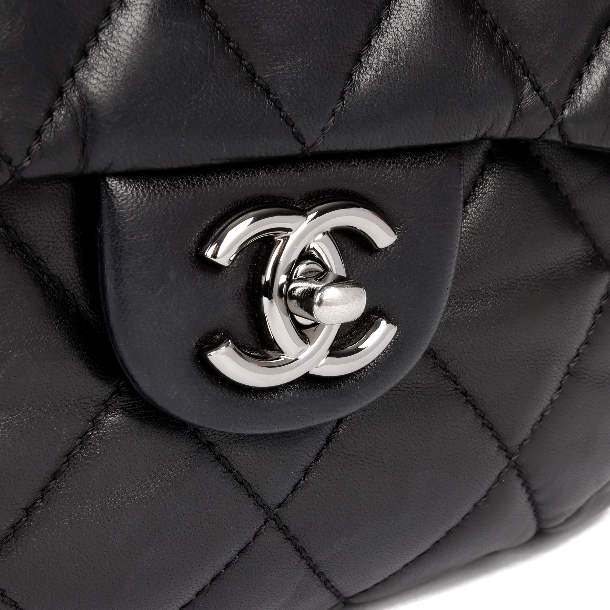 Chanel Black Quilted Lambskin Leather Triple Compartment Classic Single Flap Bag