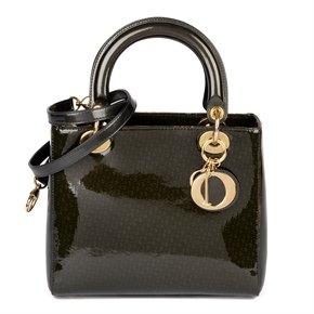 Christian Dior Khaki Monogram Patent Leather Medium Lady Dior