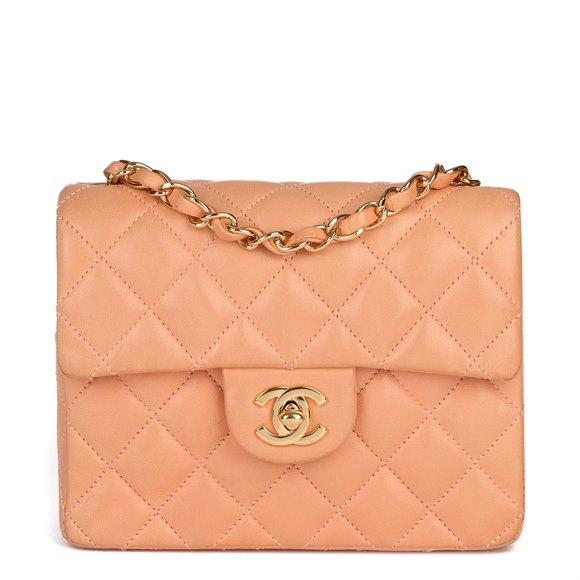 Chanel Peach Quilted Lambskin Leather Vintage Mini Flap Bag