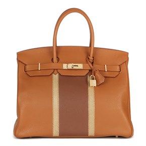 Hermès Gold, Marron d'Inde Clemence Leather & Ficelle Lizard Leather Club Birkin 35cm Retourne