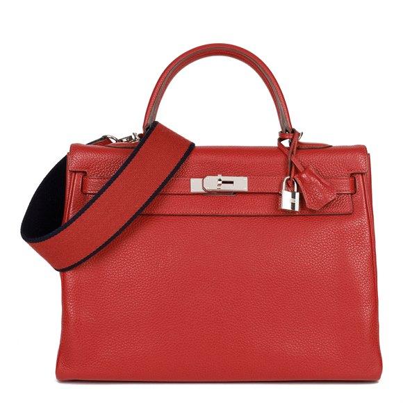 Hermès Rouge Casaque Togo Leather Kelly 35cm Retourne